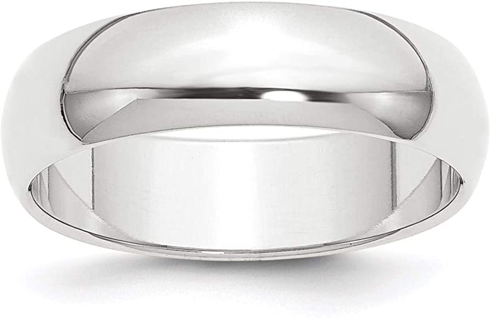 Platinum 6mm Half Round Wedding Ring Band Classic Domed Fashion Jewelry For Women Gifts For Her