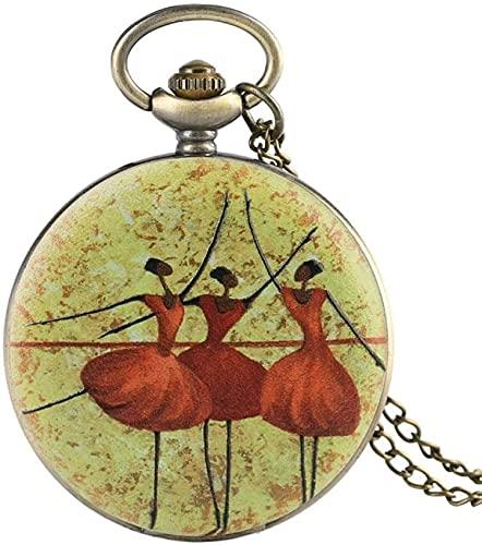 DNGDD Reloj de Bolsillo El más Nuevo Collar de Tres Bailarines de Ballet Retro Reloj de Bolsillo de Cuarzo Joyería Colgante Cadena Los Mejores Regalos para niñas Bailarina de Ballet