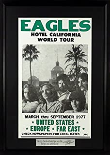 """Eagles """"Hotel California"""" Concert Poster (w/ """"You can check out…"""" Plate) Framed"""
