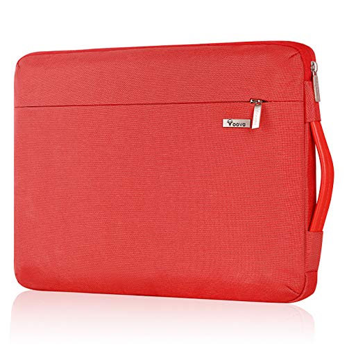 Voova 360° Protective Laptop Sleeve Case 13-13.3 Inch for MacBook Air 2018-2020 M1, MacBook Pro M1 2020, MacBook Pro Retina 2015, Dell XPS 13, Waterproof Slim Computer Cover Bag with Handle, Red
