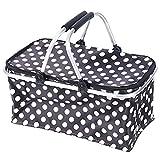 Outdoor Portable Picnic Basket Oxford Thicken Shopping Basket 46cm*24cm*28cm