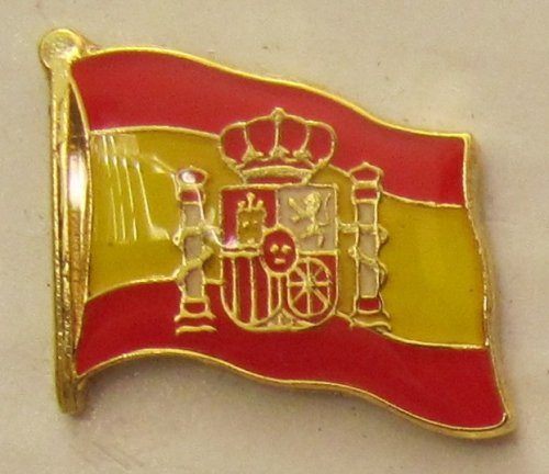 Buddel-Bini Versand Pin Anstecker Flagge Fahne Spanien mit Wappen Nationalflagge Flaggenpin Badge Button Flaggen Clip Anstecknadel