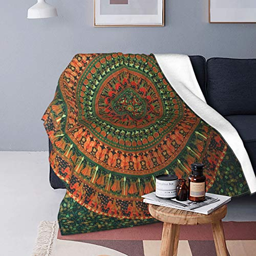 SUHOM Plush Throw Blanket for All Seasons Soft Lightweight Warm,Orange Mixed Round Ornament Abstract,Comfortable Bed Blanket Travel Bed Couch Quilt,60' X 80'