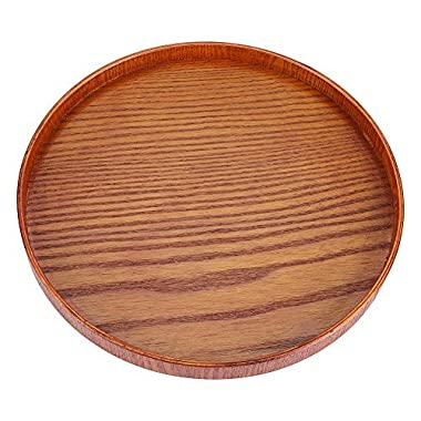 Wood Serving Plate,Wood Round Serving Tea Tray Fruit Dessert Cake Snack Candy Water Platter Wooden Bowls(33cm / 12.99 inch)