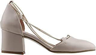 Ayakland 97544-1156 5 Cm Topuk Bayan Cilt Sandalet Ayakkabı Krem