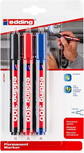 Edding - Blíster 3 Marcadores. Negro, Rojo, Azul (4-300-3-1999)