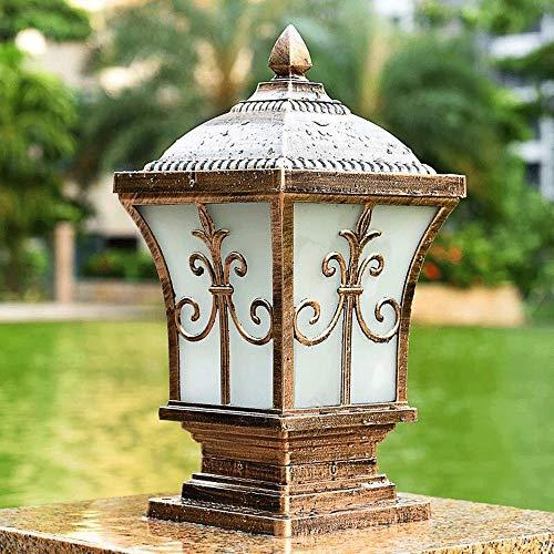 E27 IP65 cuadrado antiguo pilar linterna de aire abierto impermeable luces de poste al aire libre Villa pared luz césped valla puerta porche patio calle estigma lámpara (color: marrón)