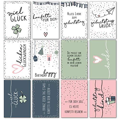 24er Geburtstags-Postkarten-Set Konfetti I im Format DIN A6 I Süßer Mix von Typographie Spruch-Karten I als Geburtstagsgruß für Mädchen I dv_469