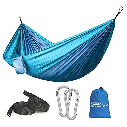 Forbidden Road Hammock Single & Double Camping Portable Parachute Hammock for Outdoor Hiking Travel Backpacking - 210D Nylon Taffeta Hammock Swing (Dark Bule & Baby Blue)