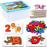 Lewo Zahlen und Alphabet Karteikarten ABC Holzbuchstaben Zahlen Puzzles Alphabet Matching Spiel Vorschulpädagogisches Lernspielzeug Geschenke für 3 4 5 6 Jahre alte Kleinkinder Baby Kinder Jungen