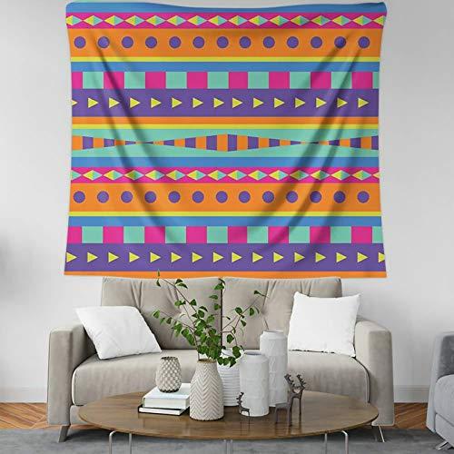 KnSam Tapiz para colgar en la pared de dormitorio Tapices para dormitorio Poliéster Vintage Geometría Patrón Resistente al moho Multicolor Tapices para Sala de estar Escritorio Estilo 4 95 x 73 cm