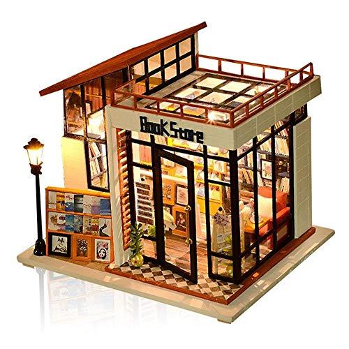 3D casa de muñecas de madera en miniatura, kits de muebles de librería, casa de muñecas con luz LED Mini modelo de casa de madera habitación creativa regalo de Navidad para niños y amigos