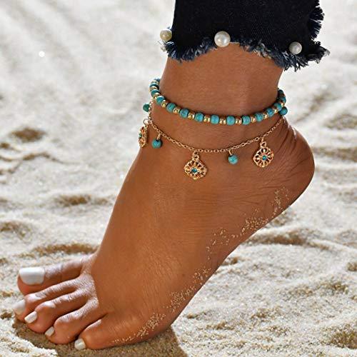 Genglass Boho Turquoise Layered Anklets Bracelets de cheville fleur d'or Beach Foot Chain Bijoux pour femmes et filles (Pack de 2)