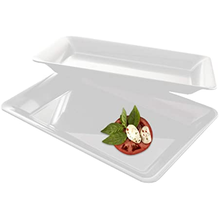 Silver Spoons and More,white Lace Rim 14x7.5 Heavyweight Plastic Set of 2 Serving Trays