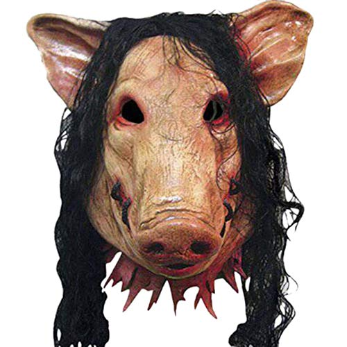 XWYWP Mscara de Halloween de Halloween Mscaras de miedo Novedad Cabeza de cerdo Horror con Mscaras de Pelo Cosplay Realista de ltex Festival Suministros Mscara Marrn