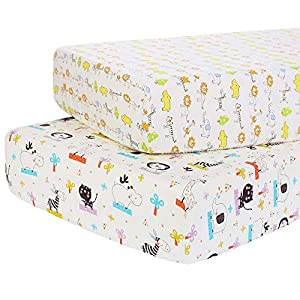 Cloele Fitted Crib Sheets Set 2 Pack Toddler Sheets,Ultra-Soft 100% Cotton Baby Sheet 28 x 52in Fits Standard Size Crib and Toddler Mattress,Nursery Sheet for Boys and Girls