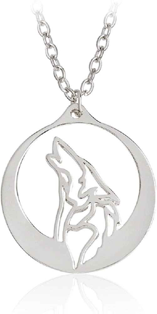 NOUMANDA Fashion Wolf Howling Pendant OFFicial shop Necklace Philadelphia Mall Personalize Round