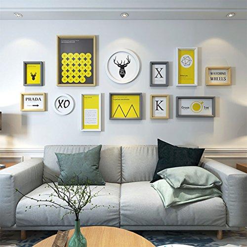 Cadre décoratif Bois massif composite, hypoténuse tridimensionnelle cadres de cadre photo de 12 ensemble de peintures décoratives (Couleur : C)
