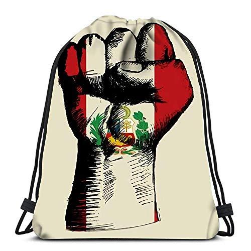 JONINOT Mochila Bolsa con cordón Boceto de puño con Insignia de Perú Mujer Hombre Sport Gym Sack
