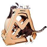 HEI SHOP Tabla de rascar para gatos y gatos, rueda de ejercicio, árbol de gato, casa de escalada, juguete giratorio para movimiento de rueda de gatos, centro de actividad interior, L (L)