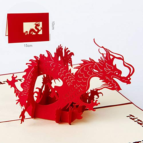 HUDETIE Chinees Nieuwjaar Rood 3D Draak Pop Up Wenskaart Laser snijden Envelop Postkaart Holle Gesneden Handgemaakte Geschenken