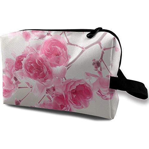 Voyage Cosmétique Sac Portable Sac À Main Lightpink Roses Trousse De Toilette Petit Maquillage Sacs Cas Organisateur