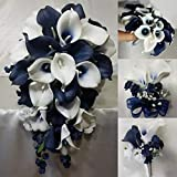 Navy Blue Ivory White Calla Lily Bridal Wedding Bouquet Accessories