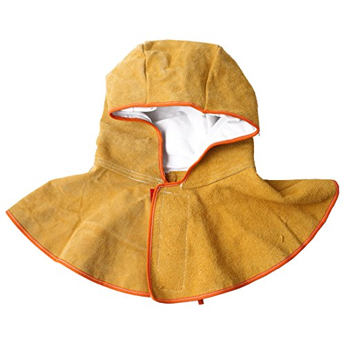 Welding Hood Cowhide Split Leather Hood with Neck Shoulder Drape Protective Cover
