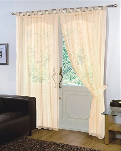 viceroy bedding Pair of Plain Voile TAB TOP Curtain Panels + Free Tiebacks Included (59' x 90', Cream)