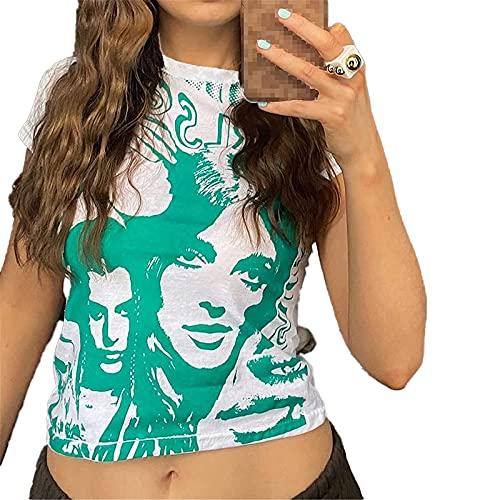 Camiseta sin mangas de verano para mujer, manga corta, abstracta, bodycon Y2K E-Girls Portrait Vest Crop Tops Streetwear