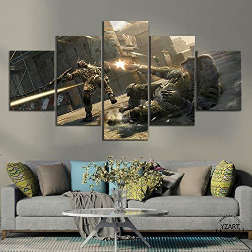 5 Stücke Warface Game Soldier Shootout Szene Poster Kunstwerk Leinwand Gemälde Hd Wandbild Für Schlafzimmer Dekor(size)