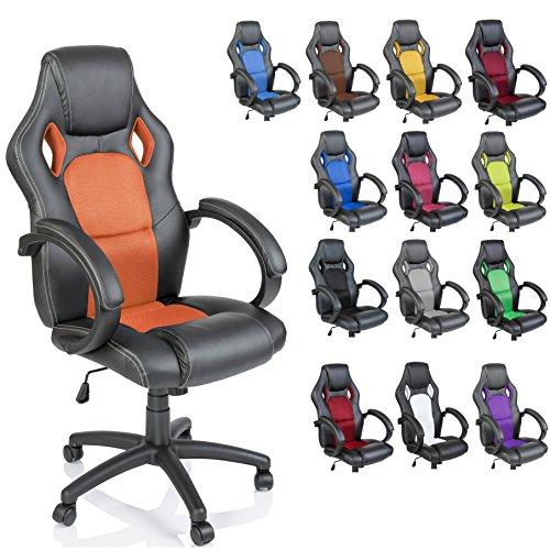 TRESKO Sedia da ufficio Poltrona ufficio Versione Racing 14 diferente colores, braccioli imbottiti, inclinazione, sollevare SGS testato (Arancione)