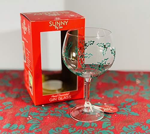 Copa de ginebra de Navidad decorada a mano con cristal de acebo de Navidad – Sunny By Sue