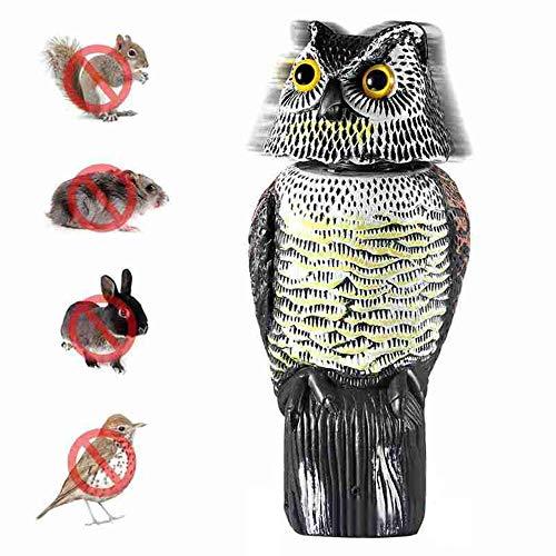 Xkfgcm Búho de Plástico Búho Espantapájaros Ahuyentador de Aves Tipo Estatua búho Gira la Cabeza con el Viento Espanta a Las Aves molestas con Ojos Reflectantes No Necesita Pilas