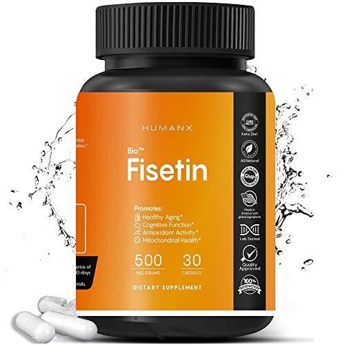 Fisetin 500mg - Fisetin Supplement (Similar to Apigenin, Luteolin, Quercetin) Senolytic Activator - Sirtuin Activator - Bioflavonoid Polyphenols - Non-GMO, Vegan, Lactose Free, Soy Free - by HumanX