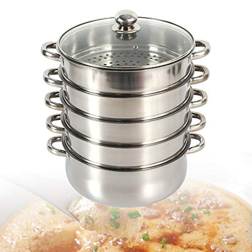 TFCFL 28cm Edelstahl Küchengerät Dampfgarer Gardampftopf Dampfkocher 4 Dampfgarbehälter,mit Glasdeckel (30cm)
