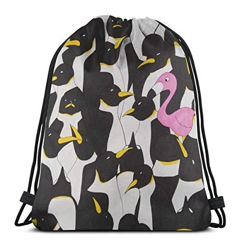 AOOEDM Mochila con cordón Flamingo Be Different Penguins Lona Mochila a granel para hombres Mujeres String Sports Gym Bag