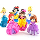 EASTVAPS 6 unids / Lote Princesa Muñeca Sofia Blancanieves Belle Doll Modelos Acción Juguete Cake Decoration Girl Toy