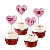 Unimall Global 24 piezas de decoración de corazón para cupcakes de San Valentín, palillos de dientes para decoración de tartas, San Valentín, bodas, fiestas de Navidad