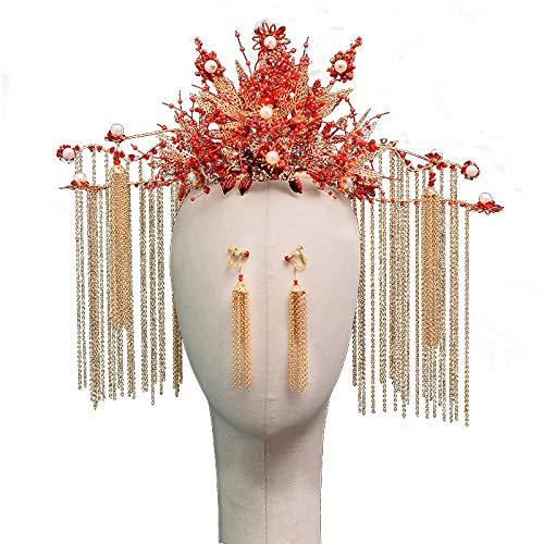 Coronas Novias Rojas clásicas con Pendientes largas Perlas de Borla Estilo Chino Novia Novia joyería Accesorios de Pelo