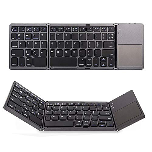 Teclado Bluetooth 3 en 1, Mini Teclado Plegable inalámbrico con Touchpad Exquisitos Teclados Portátiles para Windows/iOS/Sistema Android Smartphone Android Samsung iPhone Tablet iPad