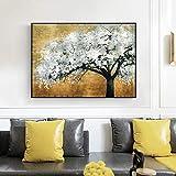JNZART Nordische Vintage goldene Bäume Poster Moderne Pop Wandkunst Leinwand druckt Bäume Landschaft Malerei an der Wand Bild Gemälde Dekor B 70x100cm