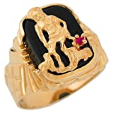 Jewelry Liquidation 10k Yellow Gold Genuine Onyx and Simulated Ruby Saint Lazarus Wide Ring