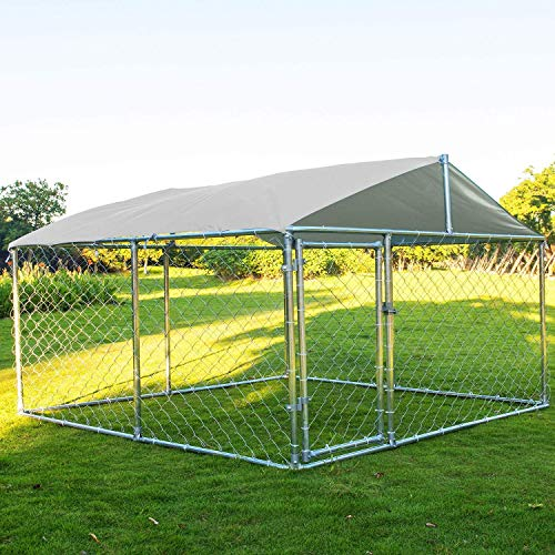 LEISU Action Club Heavy Duty Dog Cage Outdoor Pet Playpen Wire Kennel with Water-Resistant Cover for Back or Front Yard
