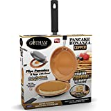 Gotham Steel Double Pan – Nonstick Copper Easy to Flip Pan with Rubber Grip Handles for Fluffy Pancakes, Perfect Omelets, Frittatas, French Toast and More! Dishwasher Safe