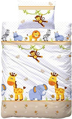 Aminata Kids Kinderbettwäsche 100 x 135 Mädchen Jungen mit Zoo-Tieren, Giraffe, AFFE, Löwe, Zebra & Elefant, Baumwolle mit Reißverschluss, Baby-Kinder-Bettwäsche-Set, Safari-Motiv & Dschungel-Tiere