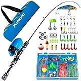 PLUSINNO Kids Fishing Pole with Spincast Reel Telescopic Fishing Rod Combo Full Kits