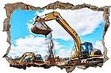 Bagger Baustelle Bau Maschine Wandtattoo Wandsticker Wandaufkleber D1241 Größe 70 cm x 110 cm