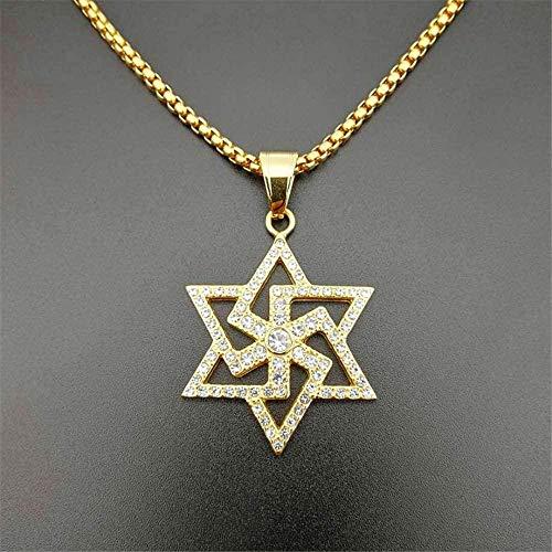 Collar para Mujeres Hombres Hip Hop Estrella de David Collar Colgante Collar de Hexagrama de Acero Inoxidable de Color Dorado para Mujeres / Hombres Joyas Judías Heladas Longitud 63cm Collar Colgante