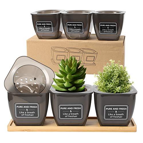 Herefun 3 Maceteros Hierbas, Maceta Autorriego, Autorriego Plantador Interior, Exterior Tiesto for Plantas, Maceta Cuadrada para Todas Las Plantas Flores